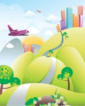 landscape and city vector illustration Stock Vector - 9477682