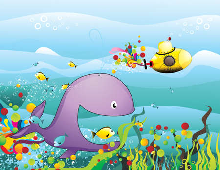 submarine and whale vector illustration