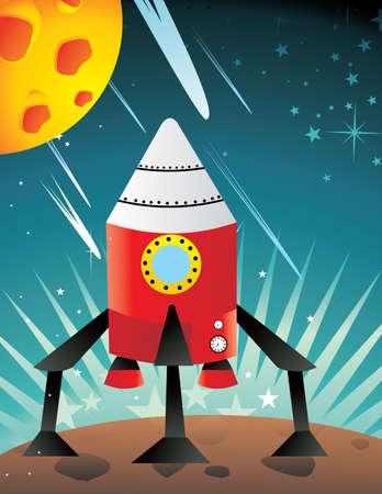 spaceship landing in the moon vector Stock Vector - 9477688