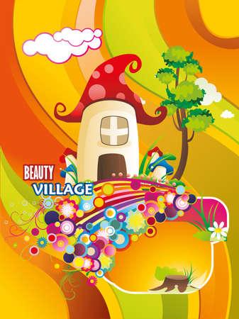 fantasy house illustration Stock Vector - 9537053