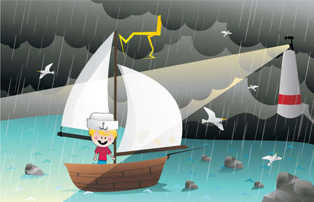 ocean storm: boy sailing vector