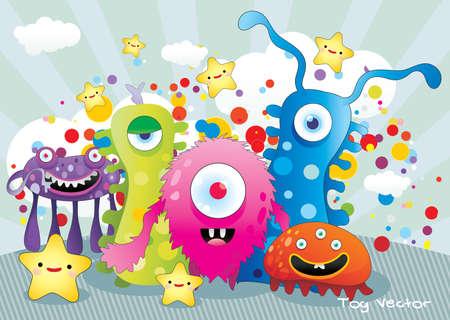 gusano: Ilustraci�n de vector de monstruos de dibujos animados Vectores