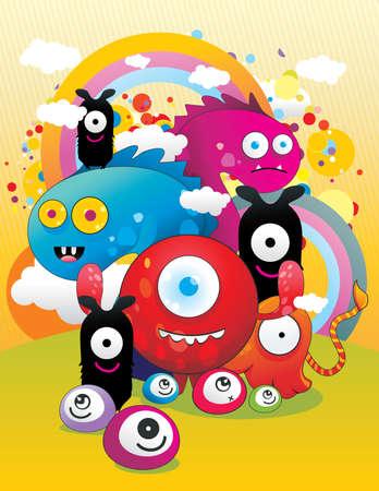 sample text: cartoon monsters vector illustration
