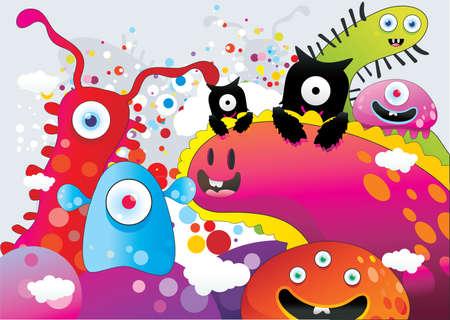 gusanos: Ilustraci�n de vector de monstruos de dibujos animados Vectores