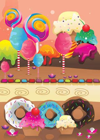 beignet: vecteur de beignets, de desserts et de bonbons Illustration