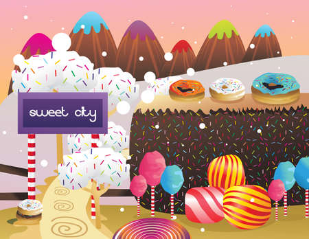 lanscape: candies and donuts lanscape