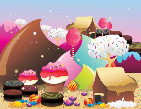 beignet: bonbons et monde de cr�me glac�e Illustration