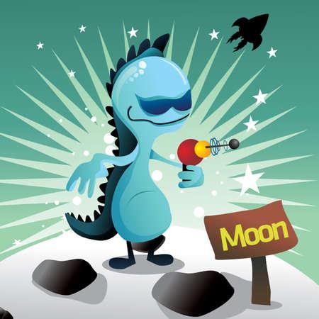 alien in the moon Stock Vector - 9639199