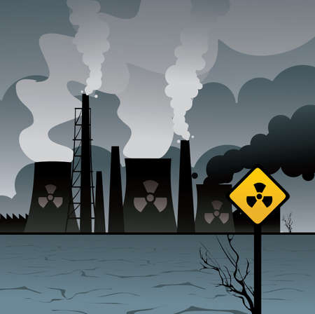 modernity: nuclear plant vector illustration