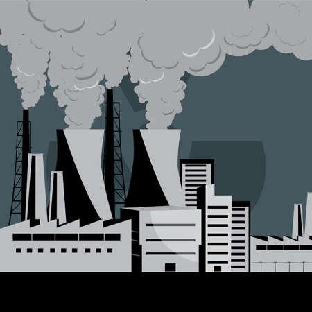vector nuclear: nuclear plant vector Illustration
