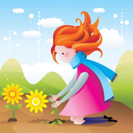 picking: girl picking flowers vector