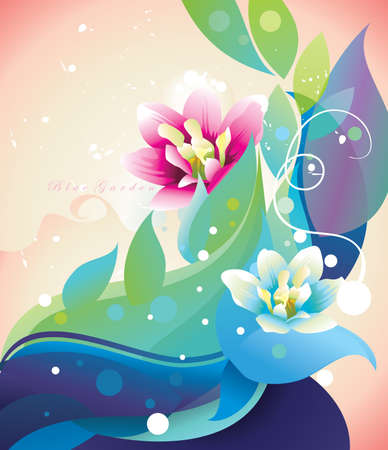 vintages: red and blue  flower with a color background vector