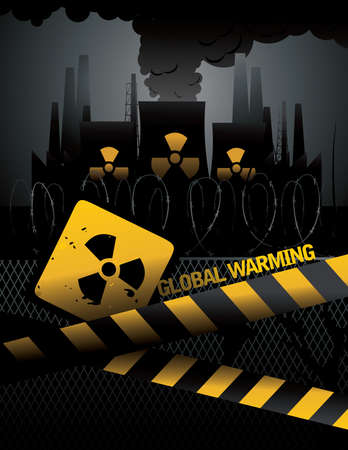 nuclear plant  with a global warming text vector Stock Vector - 9812678