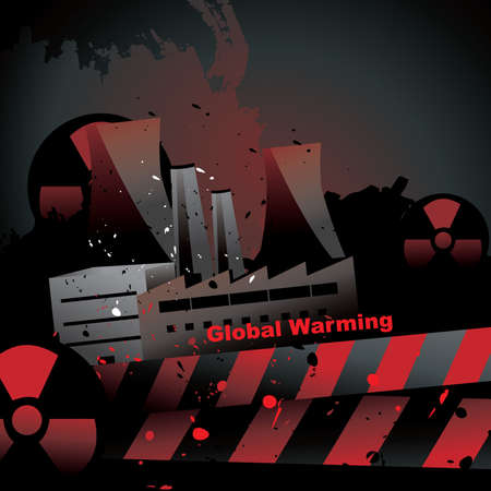 nuclear plant  with a global warming text vector Stock Vector - 9812679