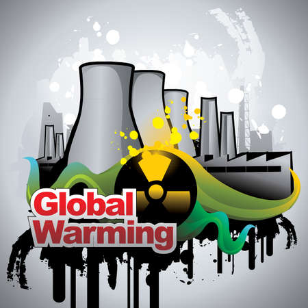 nuclear plant  with a global warming text vector Stock Vector - 9812677