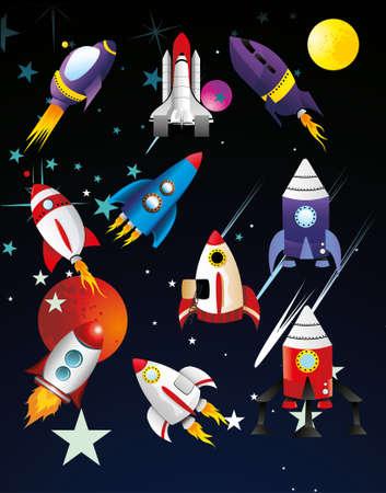 illustration vectorielle vaisseaux spatiaux