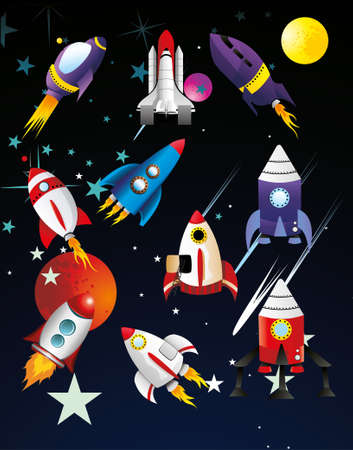 spaceships vector illustration