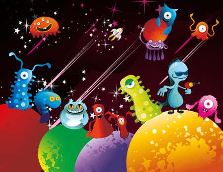 aliens chatacter funny vector Stock Vector - 9812663