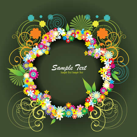 vintages: flower frame vector Illustration