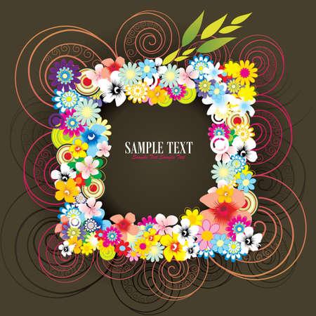 flower frame vector Illustration