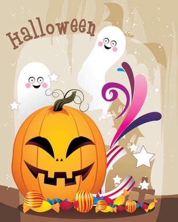 frighten: happy halloween pumpkins Illustration