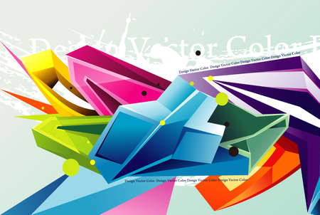 abstract tridimentional color elements vector