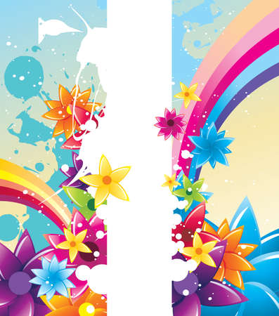 color flowers vector composition Illustration