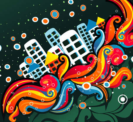 vintages: imagination city vector illustration