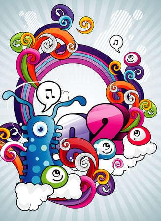 gusanos: monstruos de dibujos animados ilustraci�n vectorial