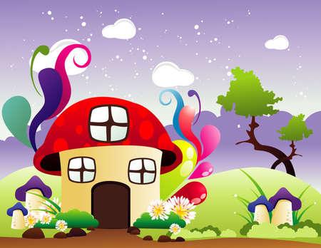 gnomos: fantasía de la casa ilustración vectorial Vectores