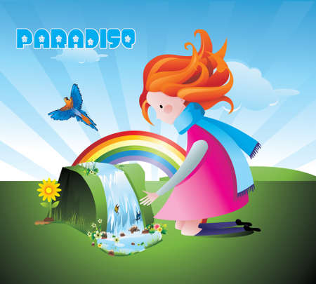 girl in the waterfall vector Stock Vector - 13235900