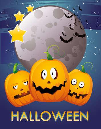 halloween pumpkins vector Vector