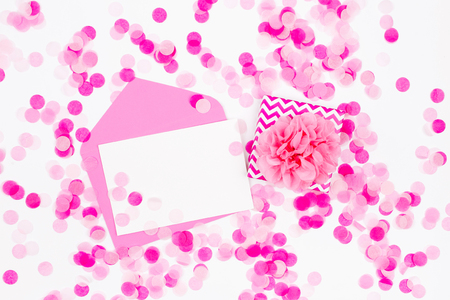 Holiday Background With Gift Empty Card Envelope And Pink Stock