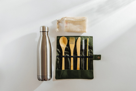 Wooden Dinnerware Set. Cutlery Set Bamboo Fork Knife With Cloth Bag Kitchen Tools for picnic, travel, camping outdoor.