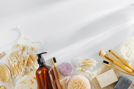 Eco natural bathroom accessories, natural cosmetics products and tools. Zero waste concept. Plastic free. Flat lay, top view