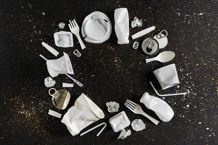 Food  plastic packaging  on  black background. Concept of Recycling plastic and ecology. Flat lay, top view Stock Photo
