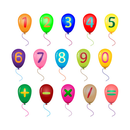 equals: colored balloons with numerals