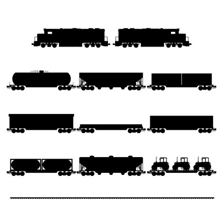 diesel train: black silhouettes of wagons and locomotives