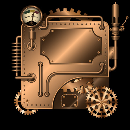 Steam engine with gears, manometer, whistle. Vector Illustration