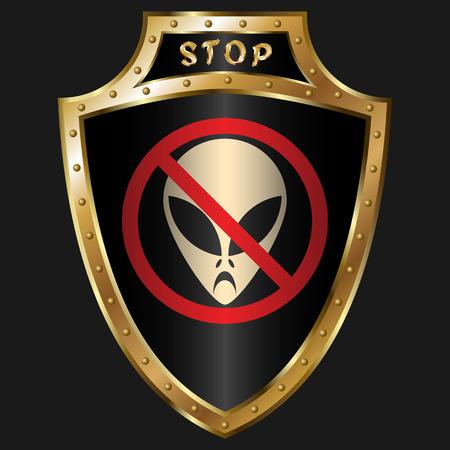 golden shield: Golden shield with anti-alien simbol