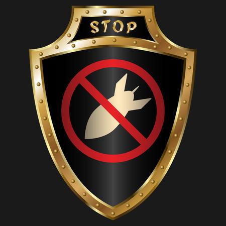 golden shield: Golden shield with anti-bomb simbol