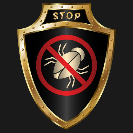golden shield: Golden shield with anti-bug simbol
