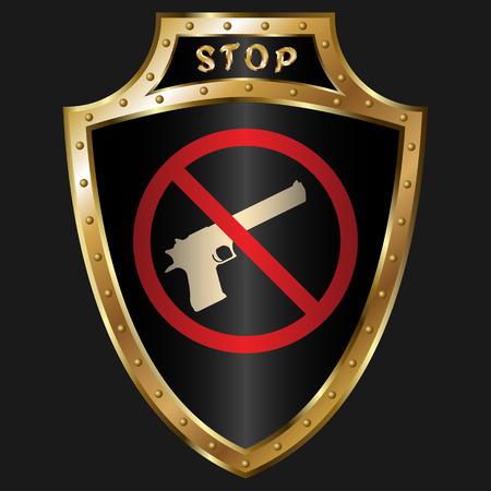 simbol: Golden shield with anti-gun simbol