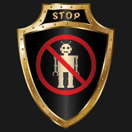 golden shield: Golden shield with anti-robot simbol