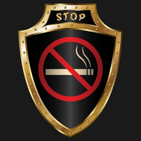 golden shield: Golden shield with anti-smoking simbol