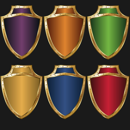 set of colored golden shields Vector