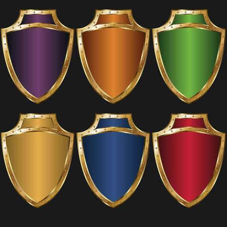 rivet: set of colored golden shields
