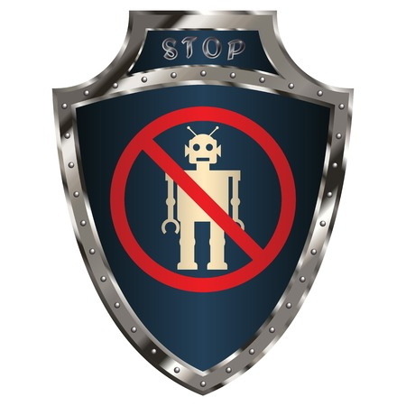 robot with shield: shield with anti-robot symbol Illustration