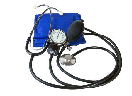 diastolic: Blood pressure cuff and sphygmomanometer Stock Photo