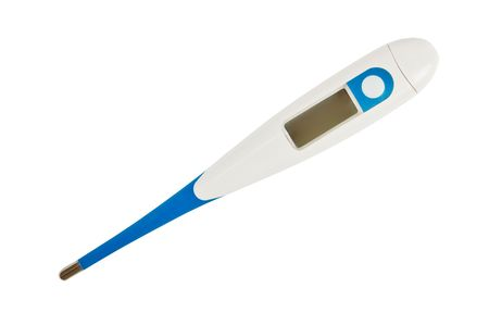 Digital thermometer isolated on white background photo